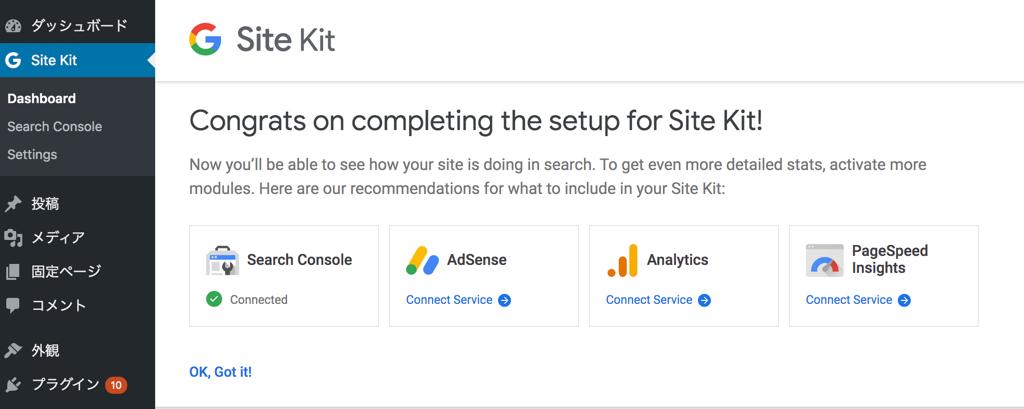 Site kit有効化