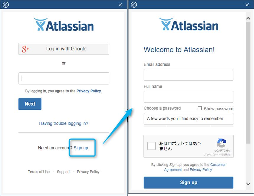 Atlassianアカウント作成(Sign-up)